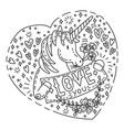 doodle unicorn love you vector image