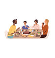 family with kids eating home food at dining table vector image vector image