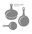 Frying pan Icon set vector image vector image