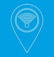 geo tag with wi fi sign icon outline style vector image vector image