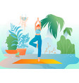girl at greenhouse or garden stand in yoga asana vector image vector image