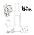 hand drawn wine glass and bottle vector image vector image