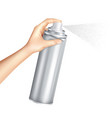 hand holding spray can realistic vector image