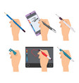 hands holding pen writing items pens markers vector image vector image