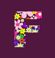 letter of beautiful flowers f vector image vector image