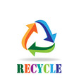 logo recycle arrows business card symbol of reduce vector image vector image