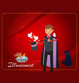 magician conjures pigeons out magical hat or vector image