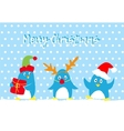 Merry christmas card with cute penguins vector image