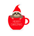 merry christmas sloth sitting in red coffee cup vector image vector image