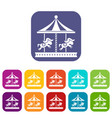 merry go round horse ride icons set vector image vector image