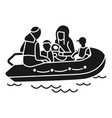 migrant family boat icon simple style vector image vector image