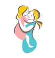mother and baby stylized symbol mom huges her vector image