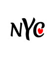 new york city abbreviation nyc lettering a modern vector image vector image
