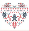 nordic pattern in hearts shape with gingerbread vector image vector image