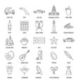 outline cuba icons vector image