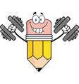 Pencil Cartoon Character Training With Dumbbells vector image vector image