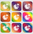 Pizza Icon Nine buttons with bright gradients for vector image vector image