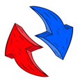 red and blue arrows hand drawn sketch vector image vector image
