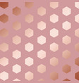 rose gold decorative pattern with hexagons vector image vector image