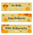 set of thanksgiving banners with turkey pumpkins vector image vector image
