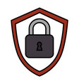shield with safe secure padlock icon vector image