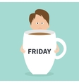 Sleepy businessman manager hugs Friday coffee cup vector image