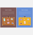 time to travel banners with stickers on suitcases vector image