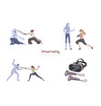 women in vr headsets ar leisure fitness training vector image