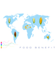 World Map with Corn Production and Consumption vector image vector image