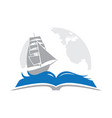 book sailboat and globe in behind vector image