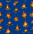 Cartoon fire wood and campfire seamless pattern