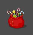 christmas bag with candies santas bagful vector image vector image
