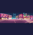 city street with houses and overpass road at night vector image vector image