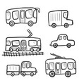 cute cartoon doodle outline city transport vector image vector image
