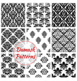 damask floral ornament seamless patterns vector image vector image