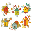 Decorative Autumn branches with Birdhouses vector image