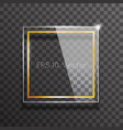 decorative glass frame glossy golden square mockup vector image vector image