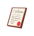 Diploma certificate cartoon icon vector image vector image