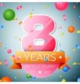 Eight years anniversary celebration background vector image