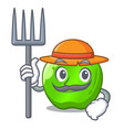 farmer cartoon of big shiny green apple vector image