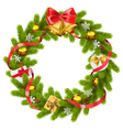 Fir Wreath with Golden Bells vector image