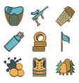 Flat colored icons for paintball vector image vector image