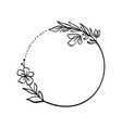 Frame wreath with leaves and flower branches