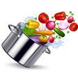 Fresh Vegetable In Metal Pan vector image vector image