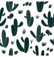 fun hand drawn cactus seamless pattern botanical vector image
