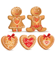 Gingerbread love vector image