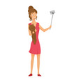 girl in a red dress with a soft toy makes a selfie vector image vector image