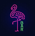 glowing neon effect sign with pink flamingo night vector image