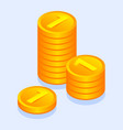 gold money coins icon isometric style vector image