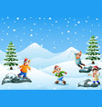 happy kids playing snowball vector image vector image